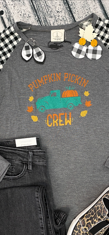 Pumpkin Pickin Crew Tee w/Checked Sleeves (S-3X)