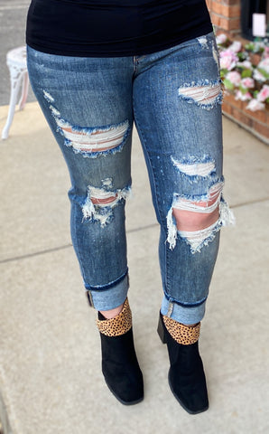 Dark Wash Bleach Splatter Boyfriend Jeans
