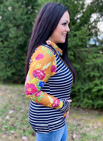 Floral & Stripe Funnel Neck Top (S-3X)