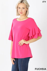 Layered Ruffle Sleeve Tops