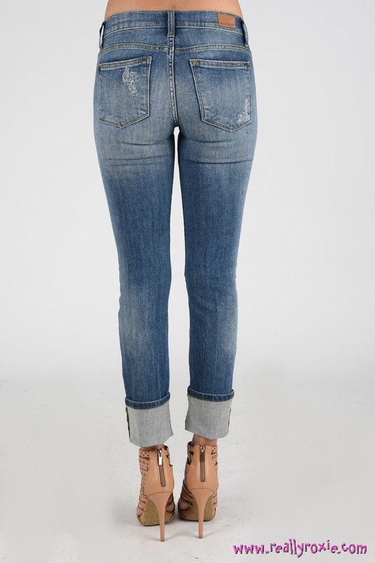 Judy Blue Distressed Straight Leg Cuffed Jeans
