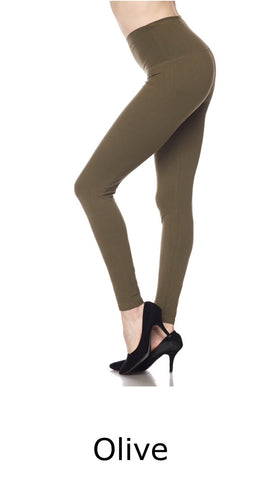 Curvy Full Length Brushed Leggings w/Wide Band