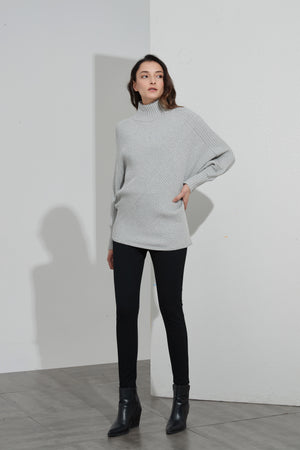 RIBBED TURTLE NECK KNIT
