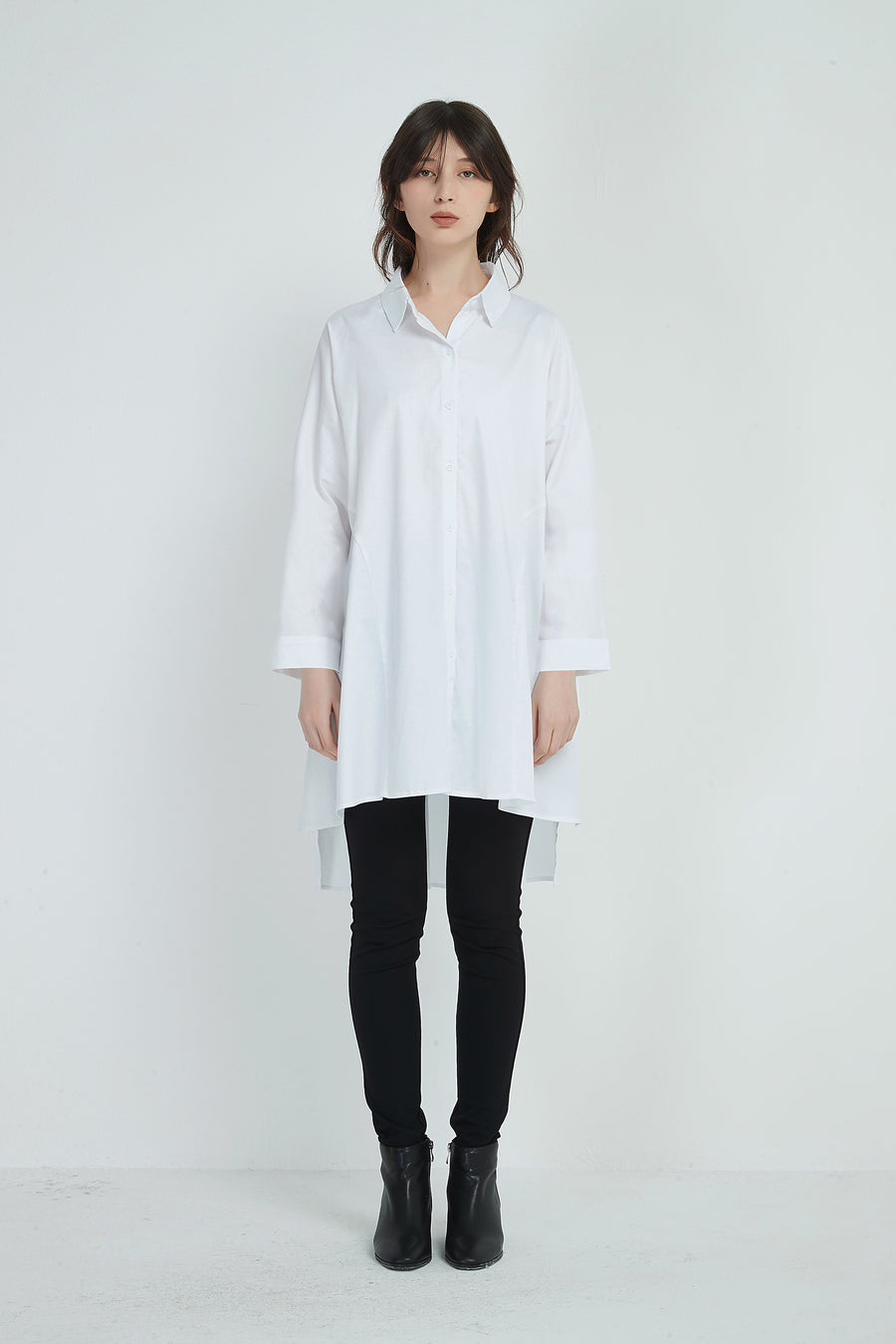 LONGLINE GATHER BACK SHIRT LS