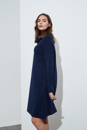 COWL NECK JERSEY DRESS