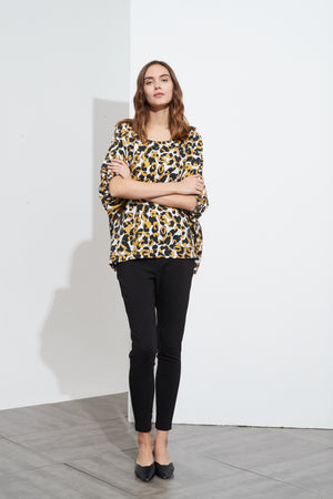 ELASTIC SLEEVE PRINT TOP