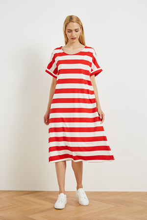 RELAXED JERSEY DRESS WIDE STRIPE