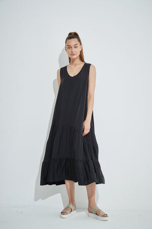 TIERED V NECK DRESS
