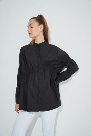 Straight Hem Shirring Shirt