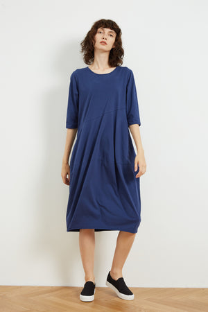 3/4 SLEEVE DIAGONAL SEAM DRESS (LIGHTER JERSEY)