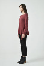 18K80137 FITTED WATERFALL HEM KNIT (more colours available)