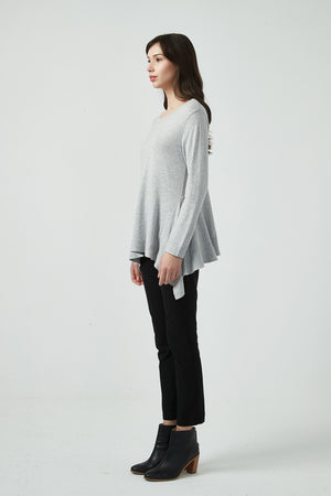 FITTED WATERFALL HEM KNIT