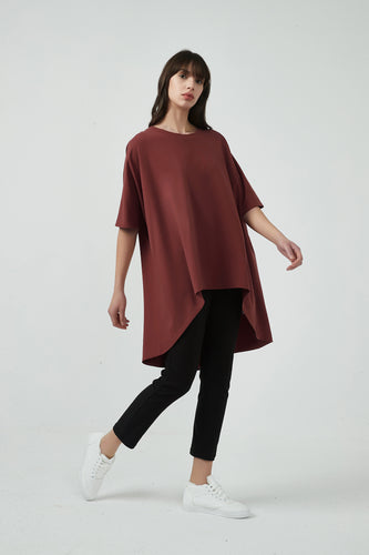 18A80189 OVERSIZED CURVED HEM TOP (more colours available)