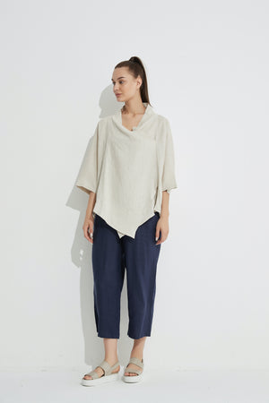COWL NECK TOP (LINEN)