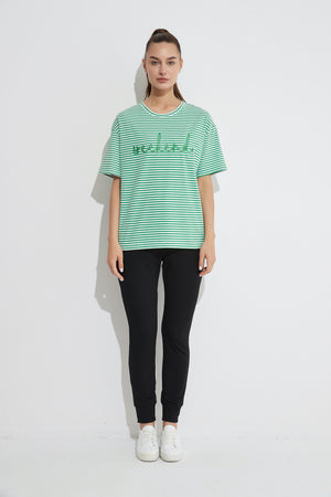 EMBROIDERED STRIPE TEE