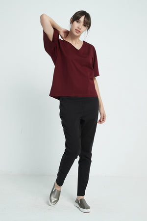 LUXE COTTON JERSEY GATHER TOP
