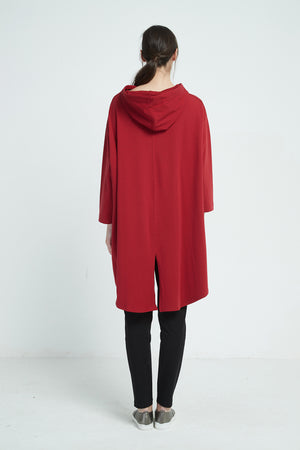 SPLIT BACK JUMPER WITH HOOD