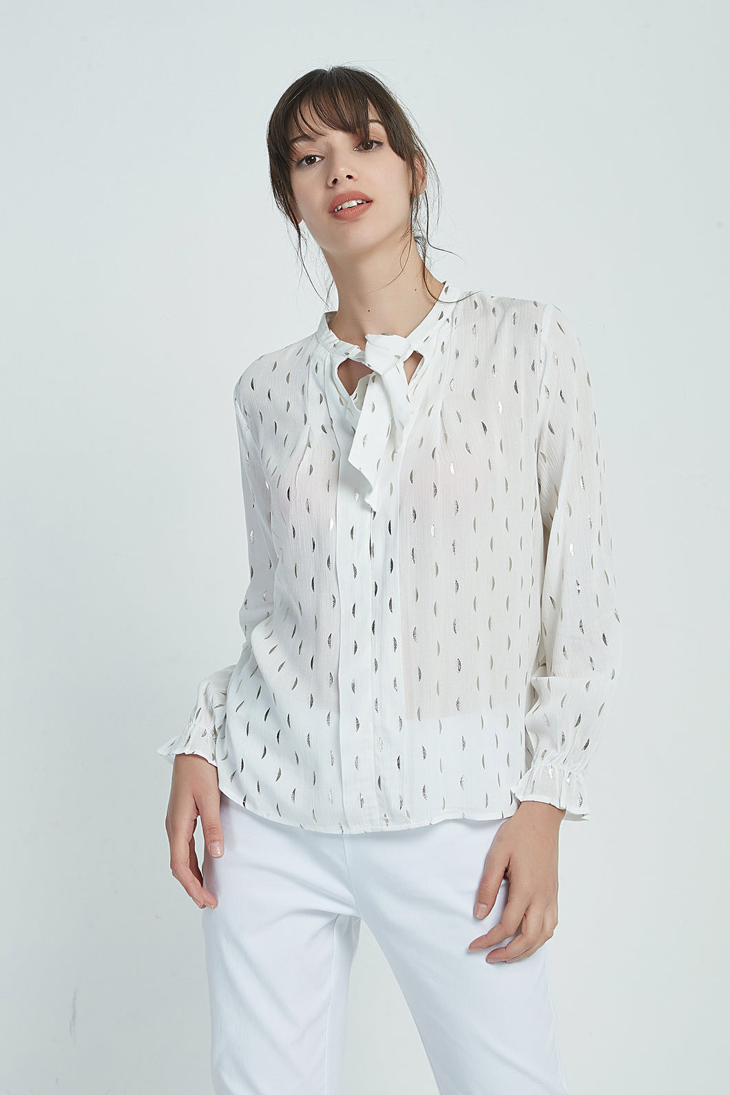 19A9069 TIE FRONT BLOUSE (more prints available)