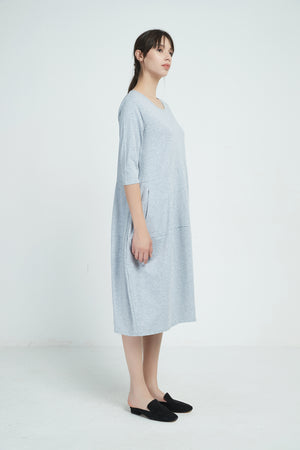 19A9001 3/4 SLEEVE DIAGONAL SEAM DRESS (more colours available)