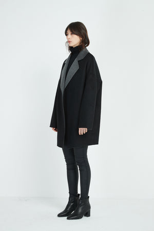 CONTRAST REVERE COLLAR COAT