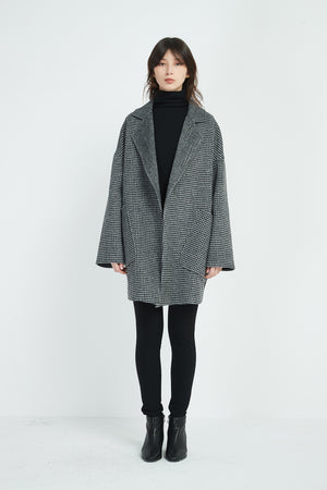 HOUNDSTOOTH REVERE COLLAR COAT