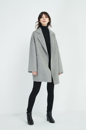 HOUNDS TOOTH REVERE COLLAR COAT
