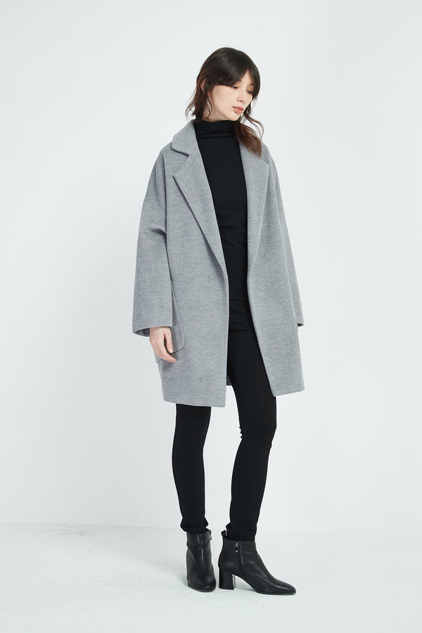 TEXTURED REVERE COLLAR COAT
