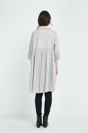 LONGLINE GATHER BACK SHIRT