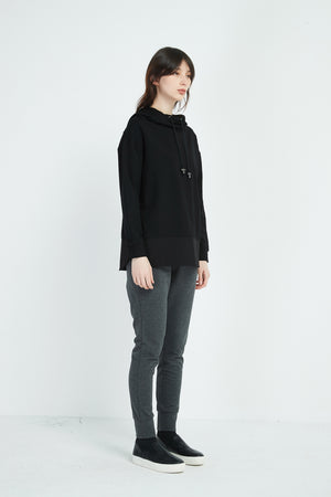 CURVED HEM HOODED JUMPER