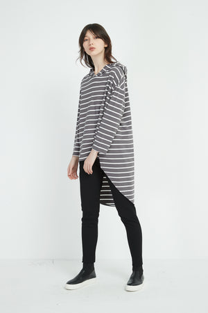 JERSEY SPLIT BACK HOODED TOP