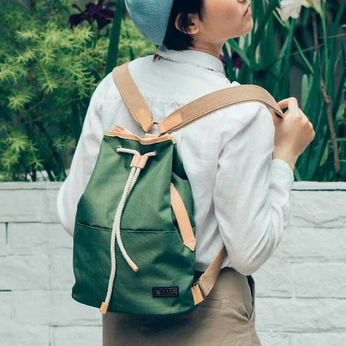 Voyage Backpack with Draw-String and Leather Trim - h-a-n-d
