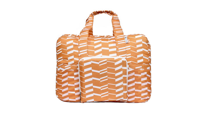 Travel Duffel Bag - Zig Zag Orange - h-a-n-d