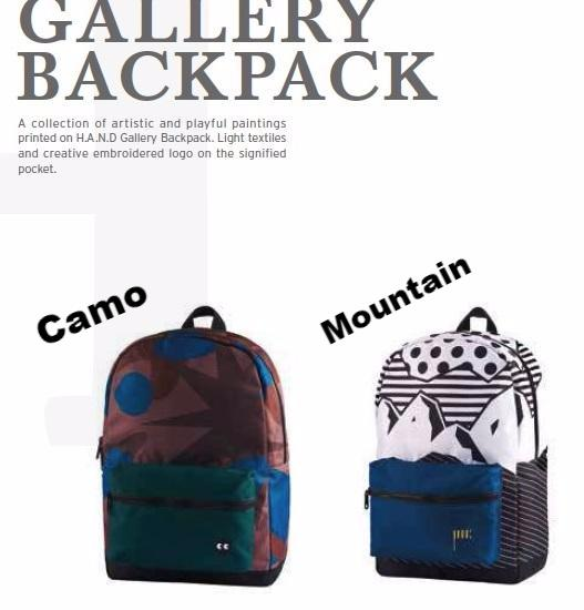 Gallery Backpack/Rucksack/Design - 2 Patterns (Mountain/Camo) For her