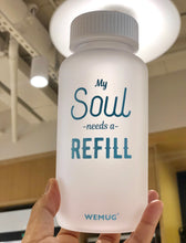 "Load image into Gallery viewer, Frosty Clear ""My souls "" Tritan BPA Free Water Bottle (BLUE WORDS)"