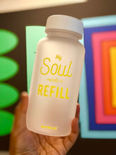 "Load image into Gallery viewer, Frosty Clear ""My souls "" Tritan BPA Free Water Bottle (YELLOW WORDS)"
