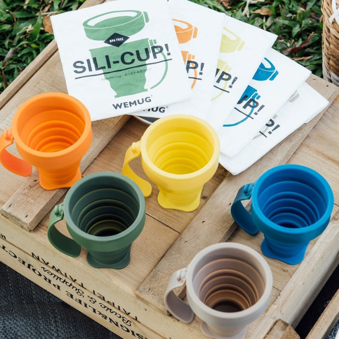WEMUG On-the-go Foldable Sili Cup with reusable Tyvek bag - WEMUG