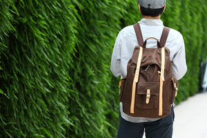 Campus Canvas Backpack L - Brown (for him) - h-a-n-d