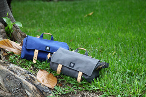 Canvas Barrel Bicycle Bag with Leather Buckles - WEMUG