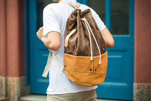 Trip Canvas Backpack, Rucksacks - Brown (for Him)