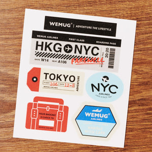 WEMUG Travel the World Airlines Fun Sticker for Water Bottle, Mug and Tumbler - WEMUG