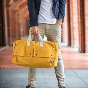 Travel Bag, Italy Canvas, Italy cow leather - Trip Weekender - Yellow - WEMUG