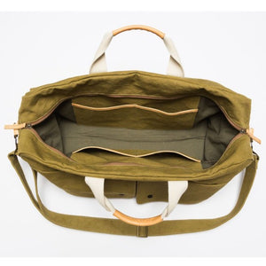 Travel Bag, Italy Canvas, Italy cow leather - Trip Weekender - Yellow