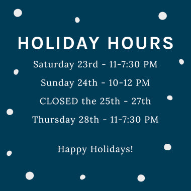 Holiday Shop Hours 2017