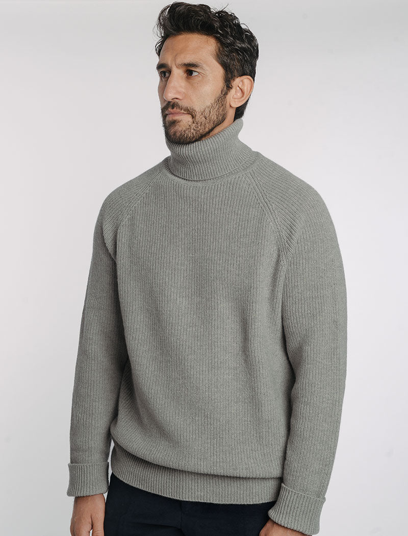 Grey Ribbed Wool & Cashmere Roll Neck Jumper | 40 Colori Made in Italy Menswear