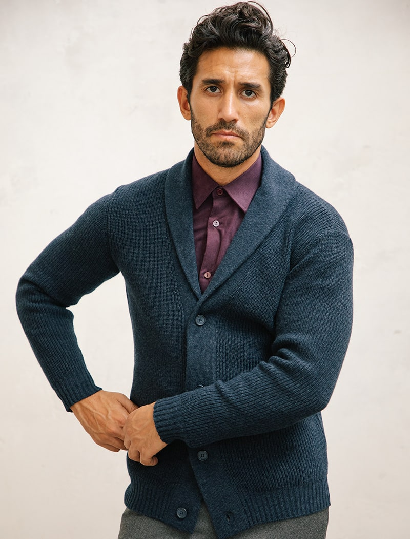 Blue Ribbed Wool & Cashmere Shawl Neck Cardigan | 40 Colori Made in Italy Menswear