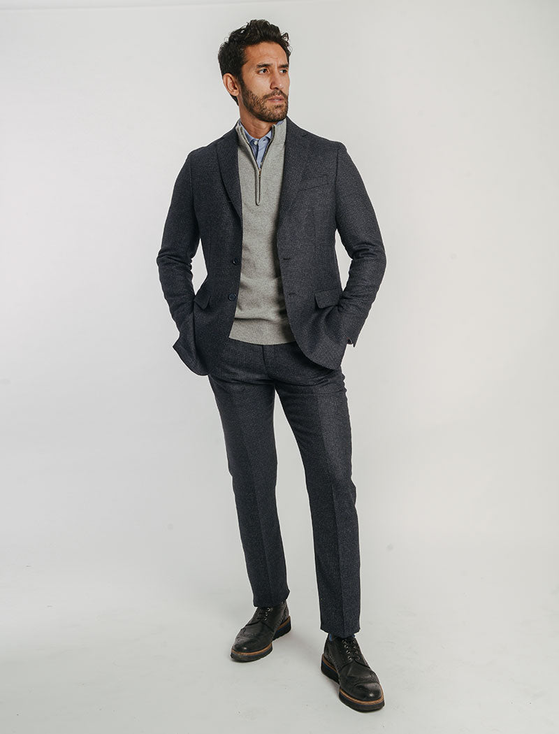 Blue Dotted Wool Slim Trousers | 40 Colori Made in Italy Menswear