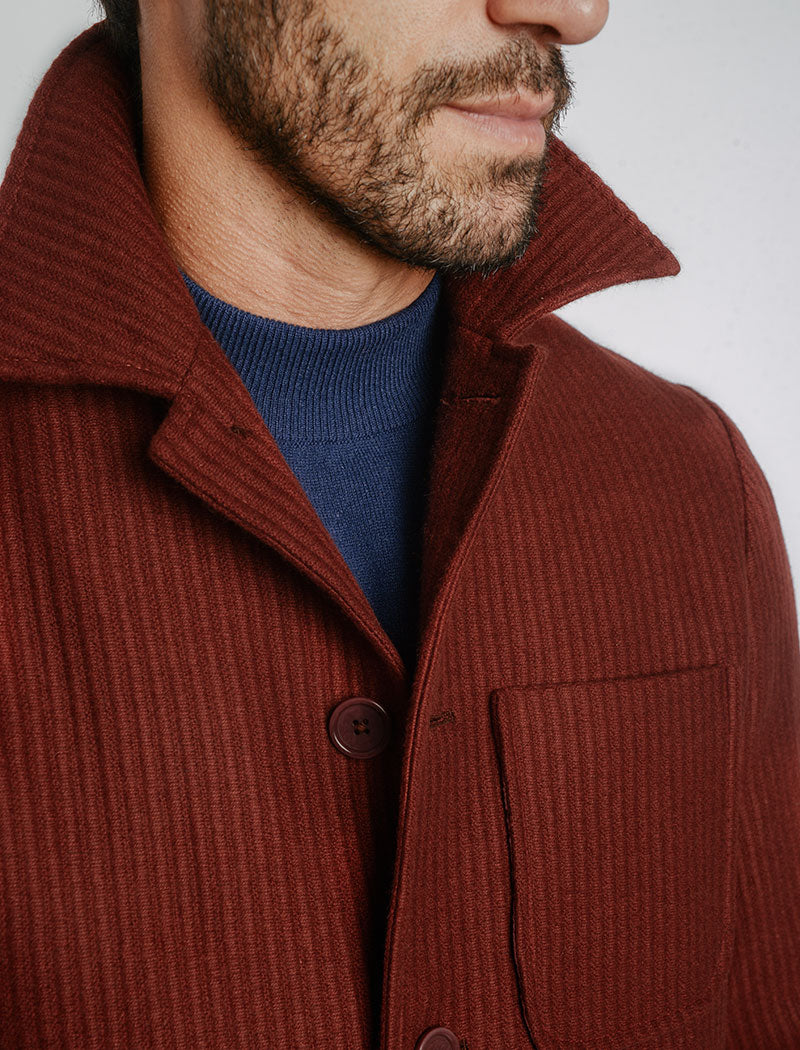 Burgundy Ribbed Cashmere Classic Overcoat | 40 Colori Made in Italy Menswear