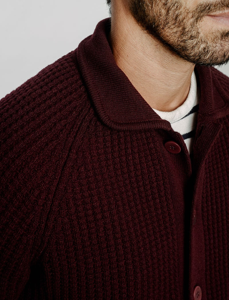 Burgundy Waffle Wool & Cashmere Knitted Overshirt | 40 Colori Made in Italy Menswear