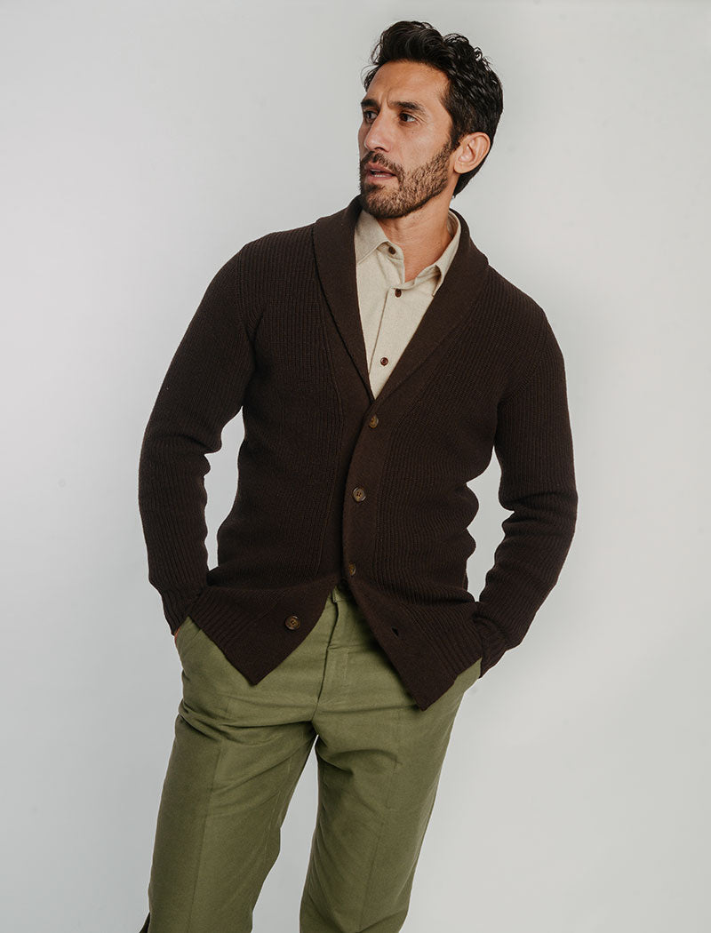 Brown Ribbed Wool & Cashmere Shawl Neck Cardigan | 40 Colori Made in Italy Menswear