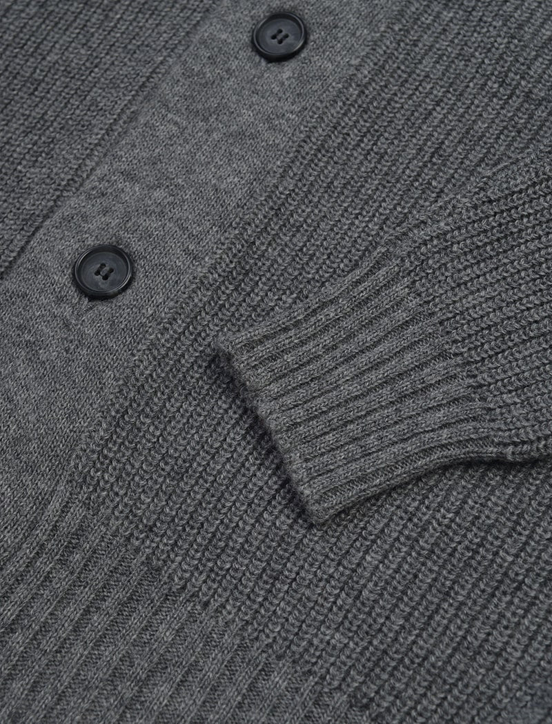 Grey Ribbed Wool & Cashmere Shawl Neck Cardigan | 40 Colori Made in Italy Menswear